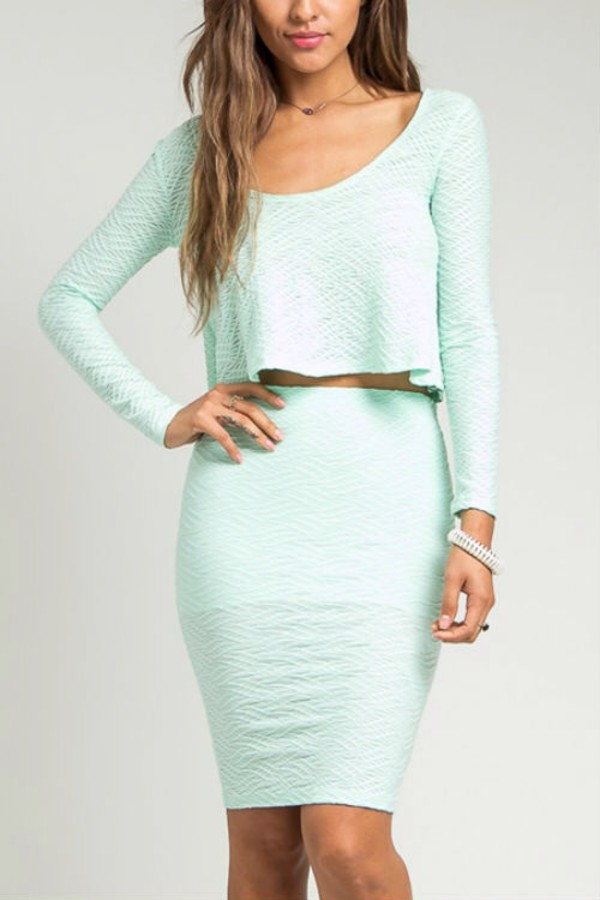 dress set dress mint crop tops embossed