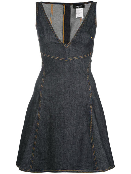 Dsquared2 dress denim dress denim women spandex cotton blue