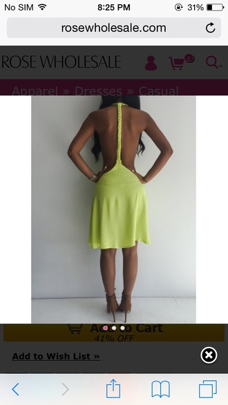 dress cute dress lime sleeveless dress short dress backless dress party dress