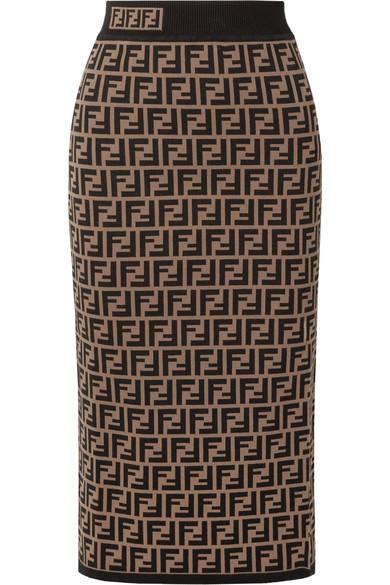 Fendi - Jacquard-knit midi skirt