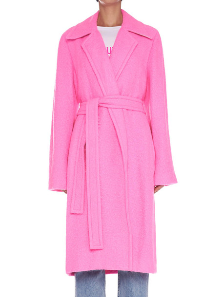 Helmut Lang 'nappy' Coat in fuchsia