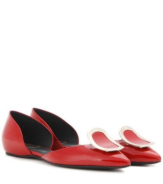 leather red shoes