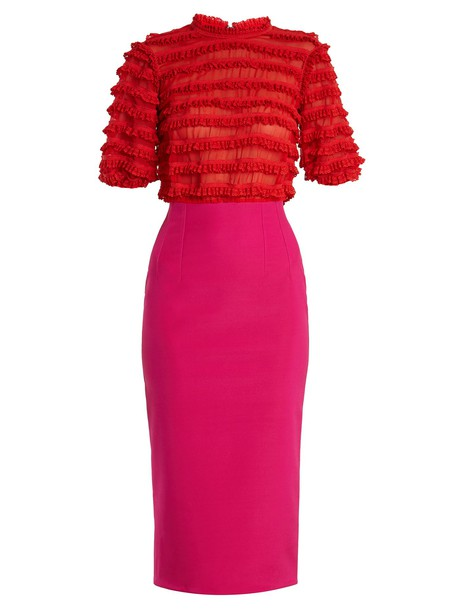Emilio De La Morena dress ruffle embellished lace silk red