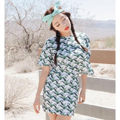 Leaf Print T-shirt And Skirt Set