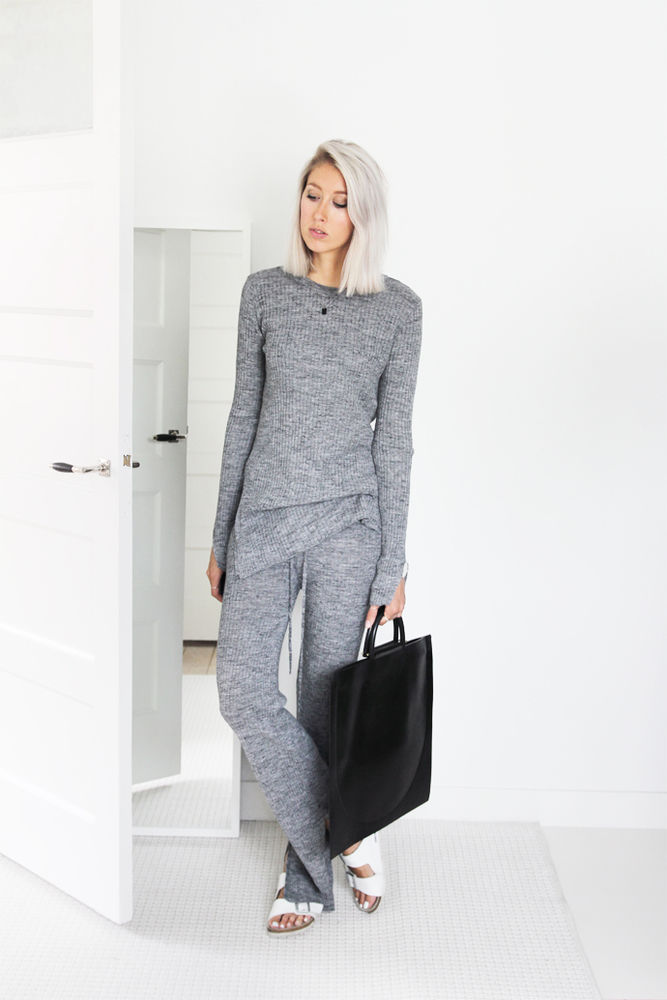 Zara grey ribbed sweater with side slits s,m ref. 3859/807