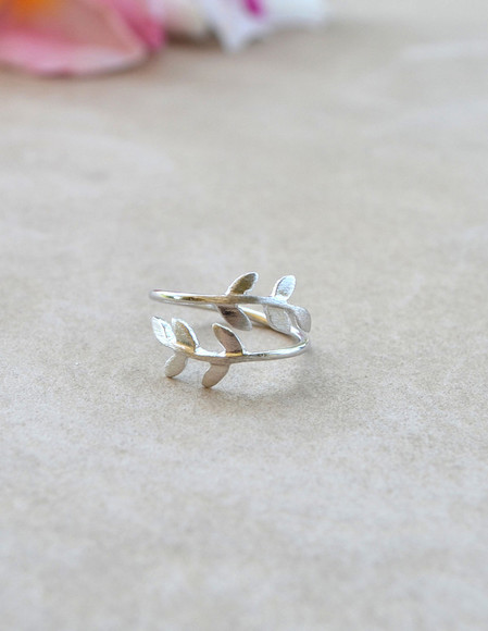 leaf jewels ring leaf ring silver silver rings