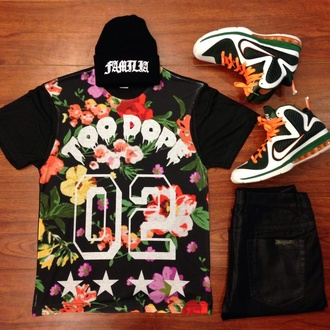 t-shirt shirt floral dope black black leather black pants beanie orange street clothes urban leather pants black jeans jeans pants hat style sneakers sneakerhead colorful jersey stars fashion floral shirt floral top dope shirt dope hats dope shit streetwear streetstyle