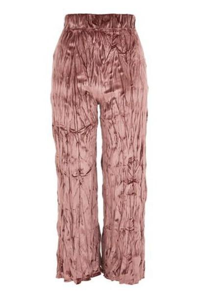 Topshop rose crushed velvet velvet pants