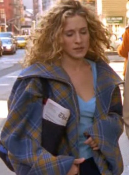 carrie bradshaw sex and the city slouchy checked coat blue and yellow