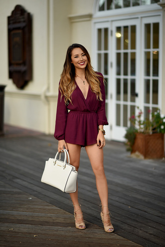 hapa time blogger romper oxblood long sleeve romper
