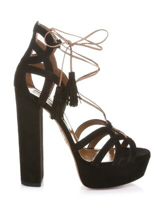platform heels heels lace suede black shoes