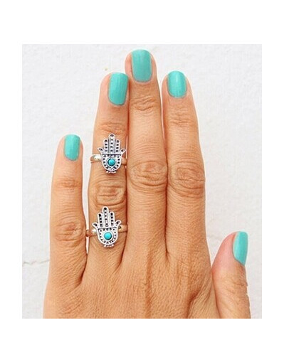 Good vibes rings set jewelry silver palm finger ring gift lovers peace