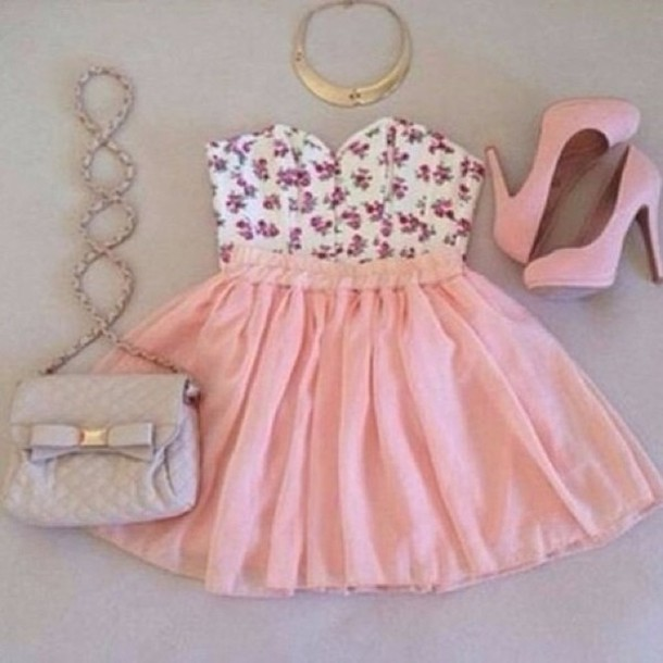 dress pink dress with flowers shoes bag