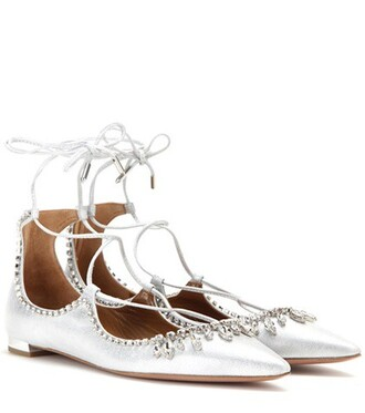metallic embellished suede silver shoes
