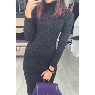 dress bodycon dress sweater dress grey winter outfits trendy zaful fashion style long sleeves