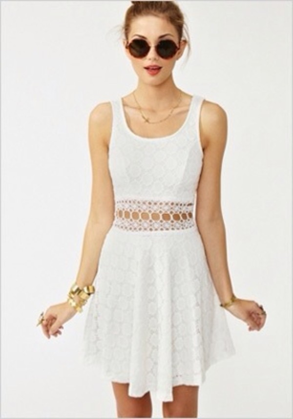 dress white summer dress cute girly sunglasses