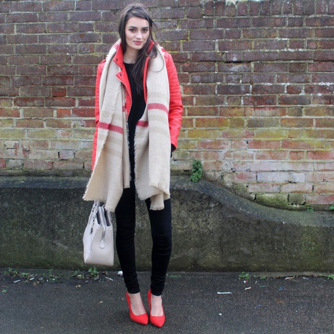 scarf jacket jeans shoes sweater bag blogger red heels red jacket blanket scarf peexo scarf red