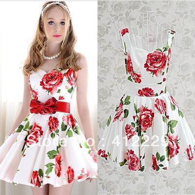 2014 red rose print white exclusive slim ball gown elegant sleeveless knee length evening club party ladies dress-in Dresses from Apparel & Accessories on Aliexpress.com
