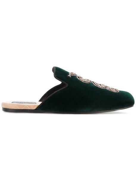 gucci snake women embellished slippers leather velvet green shoes