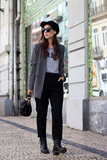 black t shirt grey blazer