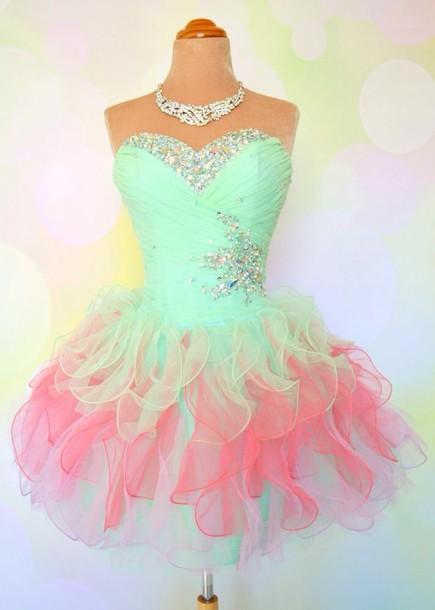 pastel pink green dress prom prom dress ombre dress pink and green neon colors