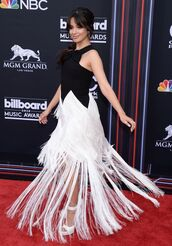 dress,fringes,black and white,camila cabello,billboard music awards,red carpet dress,gown,prom dress,shoes