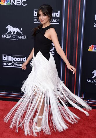dress fringes black and white camila cabello billboard music awards red carpet dress gown prom dress shoes