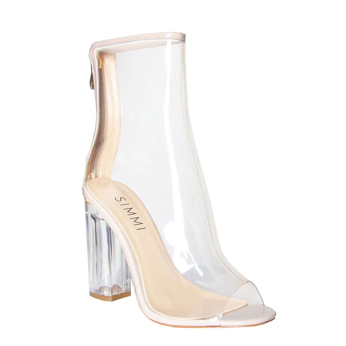 Melissa Nude Peep Toe Perspex Heel Ankle Boots   Simmi Shoes