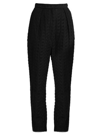embroidered cotton silk black pants
