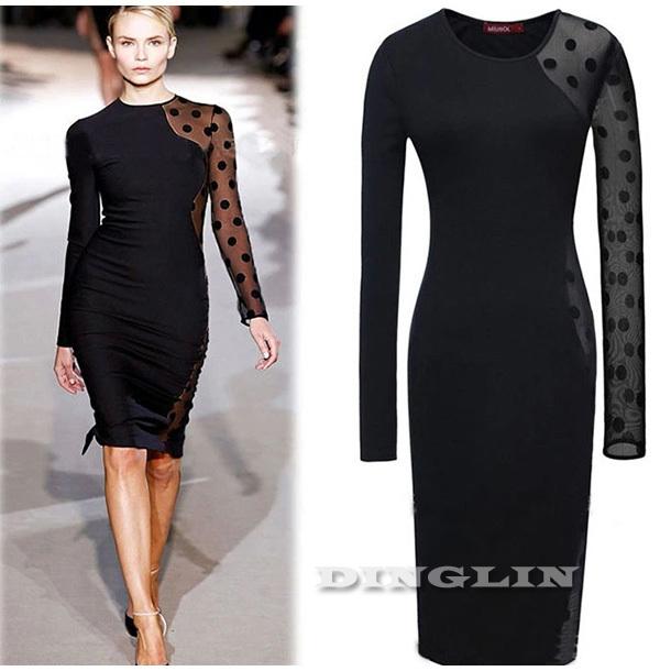 Sheer black dress long sleeve