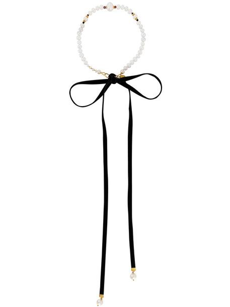 Magda Butrym metal women pearl necklace black velvet jewels