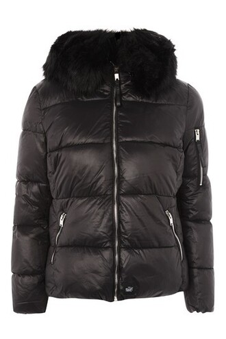jacket puffer jacket fur faux fur black