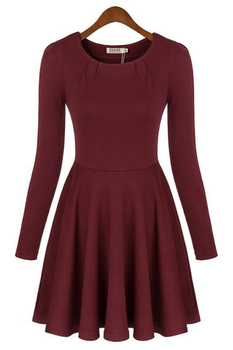 2013 New Skinny Long Sleeve Pleated Dress,Cheap in Wendybox.com