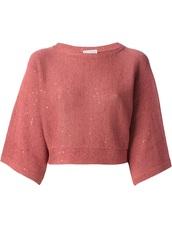 sweater,cropped sweater,brunello cucinelli,pink,burnt orange,cotton,round neck