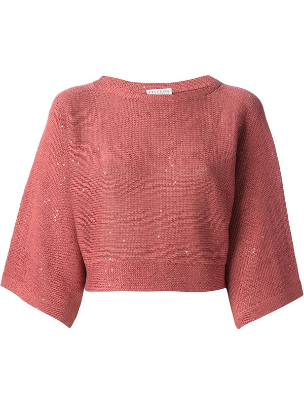 sweater cropped sweater brunello cucinelli pink burnt orange cotton round neck