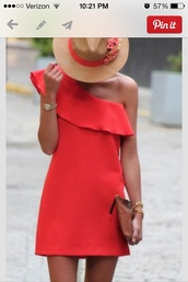 dress,red dress,sundress,one shoulder,red,hot,summer,coral,hat,cute dress,stylish,love this dress any ideas?,corail,coral dress,short dress,valentines day,asymmetrical dress,tan,cute,beautiful red dress