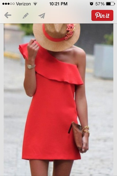 20751fc876 dress red dress sundress one shoulder red dress red hot summer coral hat  cute dress stylish