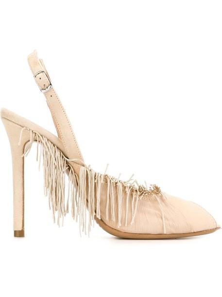 MAISON MARGIELA women pumps leather nude suede shoes