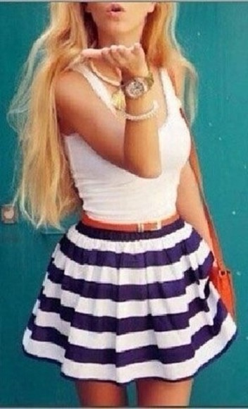 stripes nautical cute blue and white striped white tank top skirt blue skirt