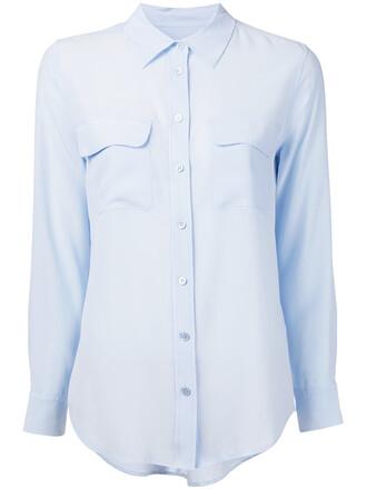 shirt women classic blue silk top