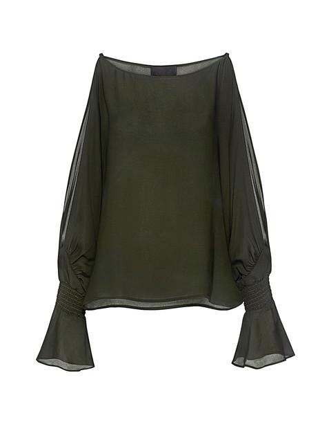 Nili Lotan blouse dark green top