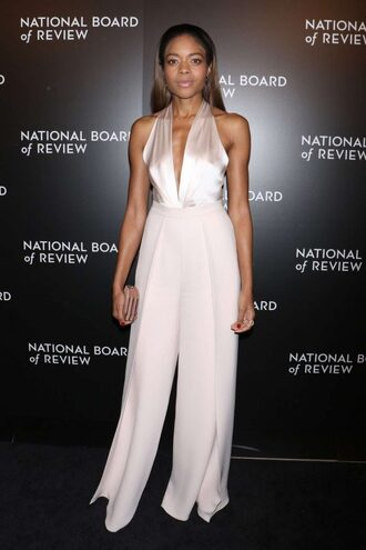 pants top plunge v neck naomie harris wide-leg pants