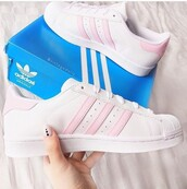 shoes,adidas,adidas superstars,white,pastel pink,white sneakers