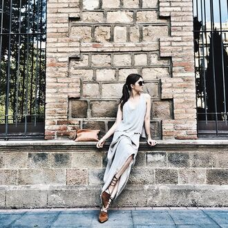 dress grey dress maxi dress long dress sleeveless dress sunglasses pouch brown bag flats pointed flats lace up sandals tumblr