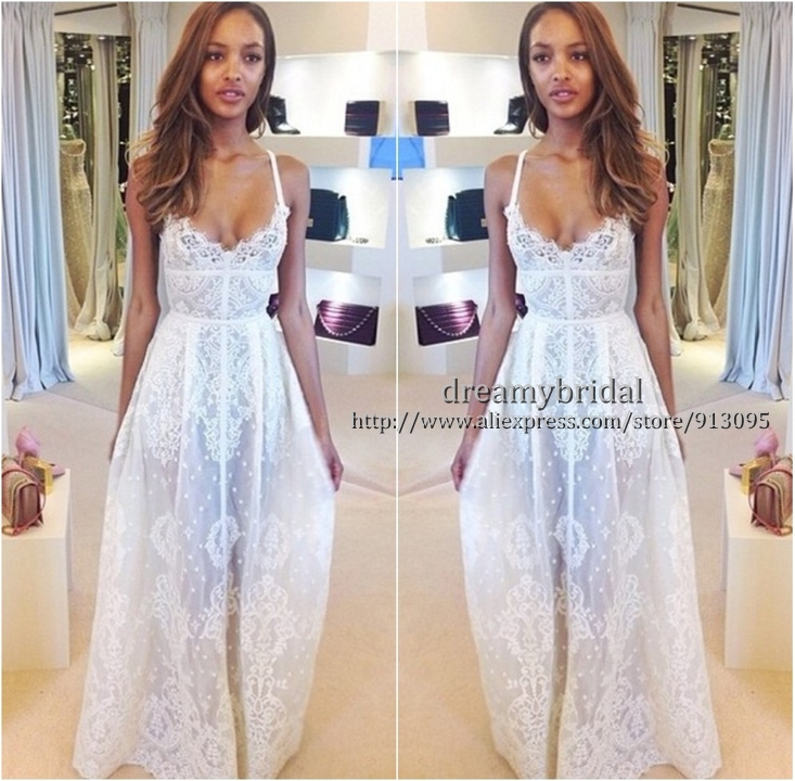 Aliexpress.com : Buy Free Shipping Elie Saab Prom Dresses 2014 Sexy Spaghetti Strap See Through Sheer Long A Line White lace Dress Party Dress Custom from Reliable dress xs suppliers on Suzhou dreamybridal Co.,LTD
