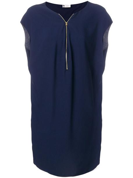 lanvin dress zip women blue
