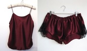 blouse,burgundy,pajamas,silk,burgundy top,burgundy shorts,black lace shorts,black lace,nightwear,sleepwear,pjamas,fancy,extravagant,sexy,pj's,cute,set,lingerie,lingerie set,shorts,tang top,comfy,red,shirt,lace,fashion sleepwear,pajamas shorts and shirt,lounge set,pajamas set,lounge,maroon/burgundy,lace lingerie,satin,tank top,pajams,underwear,silk pajamas,top