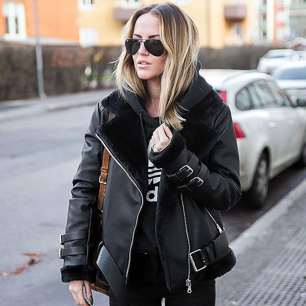 Women&39s Shearling Biker Jacket