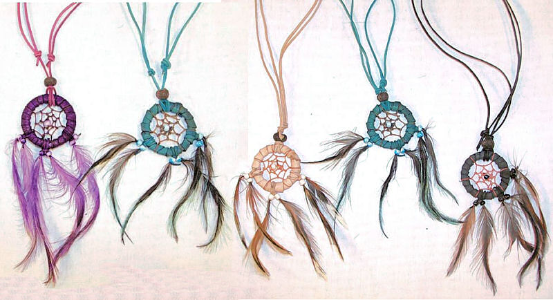 Native crafts wholesale : leather dream catcher necklace with matching cord [ntw
