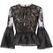 Marchesa - frilled peplum lace blouse - women - silk/nylon - 12, black, silk/nylon